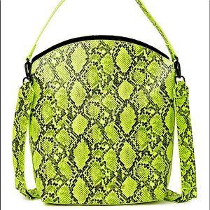 Lucy Snakeskin Embossed Bucket Crossbody Bag